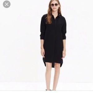 Madewell Moviehouse Shirt Dress Solid Black XXS